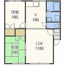 北海道札幌市東区北四十一条東4丁目の賃貸アパートの間取り