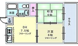 大阪府豊中市西泉丘1丁目の賃貸アパートの間取り