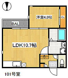 福岡県福岡市中央区谷2丁目の賃貸アパートの間取り