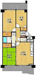 KDXレジデンス夙川ヒルズ 5番館[503号室]の間取り