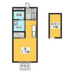Yリバティハイツ 1階ワンルームの間取り