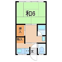 1314福美荘A[2階]の間取り