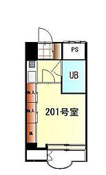 JR中央線 国立駅 徒歩10分の賃貸マンション 2階1Kの間取り