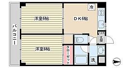 サンヴァレー長井 3階2DKの間取り