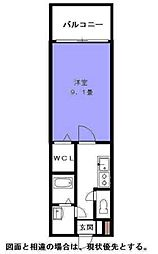 イ・カーサM`s 2階ワンルームの間取り