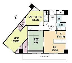 ルヴニール北野田 2階3LDKの間取り
