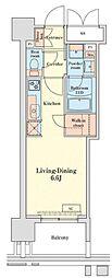 都営浅草線 泉岳寺駅 徒歩14分の賃貸マンション 16階ワンルームの間取り