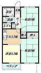 中津サンハイツ[203号室]の間取り