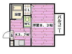 広島県広島市安芸区矢野南1丁目の賃貸アパートの間取り