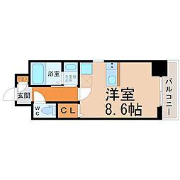 JR東海道本線 尾頭橋駅 徒歩9分の賃貸マンション 9階ワンルームの間取り