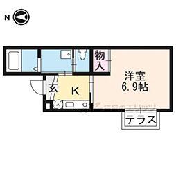 京阪本線 墨染駅 徒歩5分の賃貸アパート 1階1Kの間取り