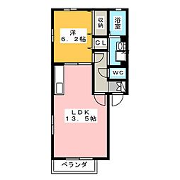 愛知県名古屋市千種区新池町4丁目の賃貸アパートの間取り