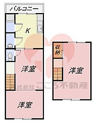 堺市東区草尾貸家 1階3DKの間取り