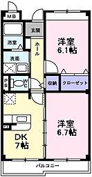 インヴィテ・ボヌ-ルII番館 3階2DKの間取り