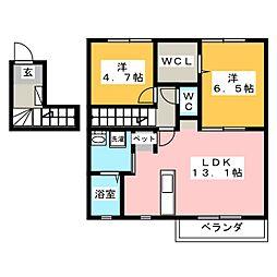 M'sコートB[2階]の間取り