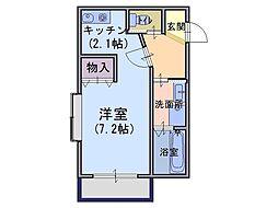 メゾン・フィオーレ 2階1Kの間取り