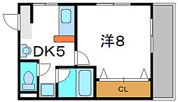 Osaka Metro谷町線 守口駅 徒歩6分の賃貸マンション 3階1DKの間取り