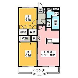 岐阜県可児市今渡の賃貸マンションの間取り