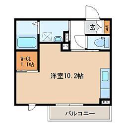 JR信越本線 長野駅 徒歩9分の賃貸マンション 3階ワンルームの間取り