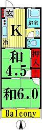 山崎コーポ[203号室]の間取り