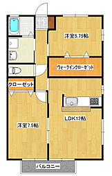 栃木県宇都宮市清原台3丁目の賃貸アパートの間取り