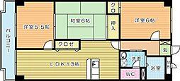 福岡県北九州市小倉南区中曽根3丁目の賃貸マンションの間取り