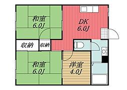 千葉県印西市木下の賃貸アパートの間取り