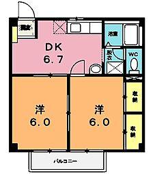 埼玉県北本市北本4丁目の賃貸アパートの間取り