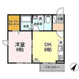JR南武線 平間駅 徒歩15分の賃貸アパート 2階1DKの間取り