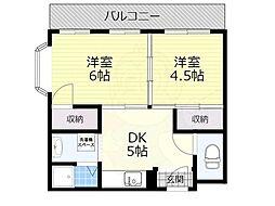 大阪モノレール本線 宇野辺駅 徒歩13分の賃貸マンション 3階2DKの間取り