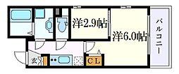 名古屋市営東山線 中村日赤駅 徒歩5分の賃貸マンション 3階2Kの間取り
