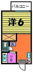 カネヨシハイツ[2−F号室]の間取り