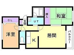 ガーデンハウス 4階2LDKの間取り