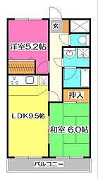コスモ所沢[4階]の間取り