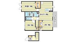 兵庫県姫路市西今宿4丁目の賃貸アパートの間取り