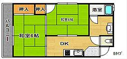 住之江パークハイツNo.1[4階]の間取り