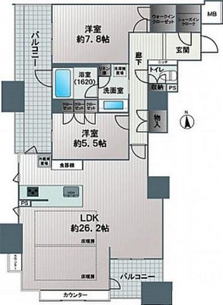 ブランズタワー南堀江[28階]の間取り