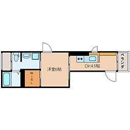 JR東海道本線 静岡駅 徒歩20分の賃貸マンション 2階1DKの間取り