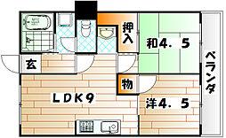 コーポ満津羅[3階]の間取り