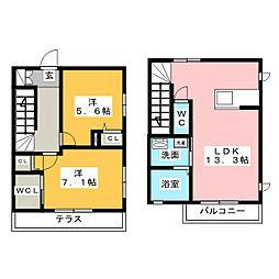 [テラスハウス] 愛知県名古屋市中川区細米町2丁目 の賃貸【/】の間取り