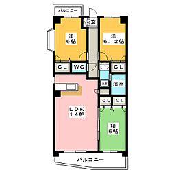 ルミエール箱崎[4階]の間取り