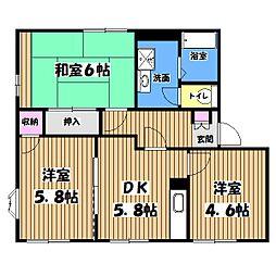 東京都羽村市緑ヶ丘2丁目の賃貸アパートの間取り