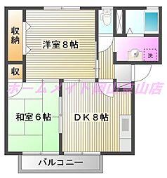 岡山県岡山市北区辛川市場の賃貸アパートの間取り