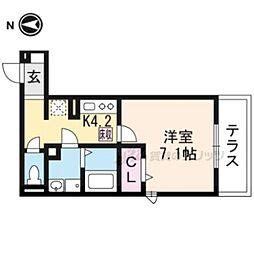叡山電鉄叡山本線 一乗寺駅 徒歩4分の賃貸アパート 1階1Kの間取り