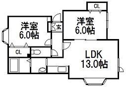 北海道札幌市西区山の手七条8丁目の賃貸アパートの間取り