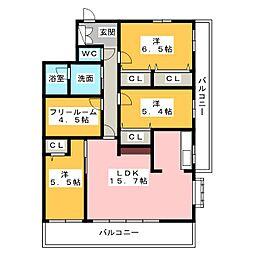 バンベール春日井イースト[4階]の間取り