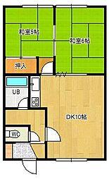 松尾マンション2号棟 2階2DKの間取り