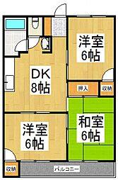 森田コーポ[3階]の間取り
