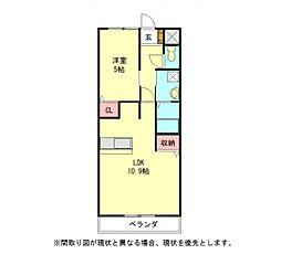 愛知県一宮市大和町毛受字辻畑の賃貸アパートの間取り