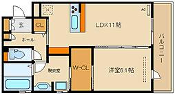 近鉄南大阪線 高見ノ里駅 徒歩7分の賃貸アパート 1階1LDKの間取り